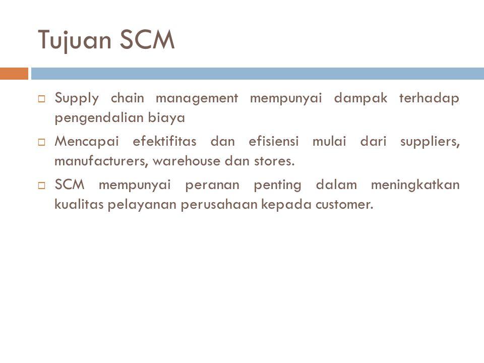 Tujuan SCM Supply chain management mempunyai dampak terhadap pengendalian biaya.
