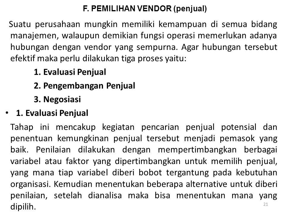 F. PEMILIHAN VENDOR (penjual)