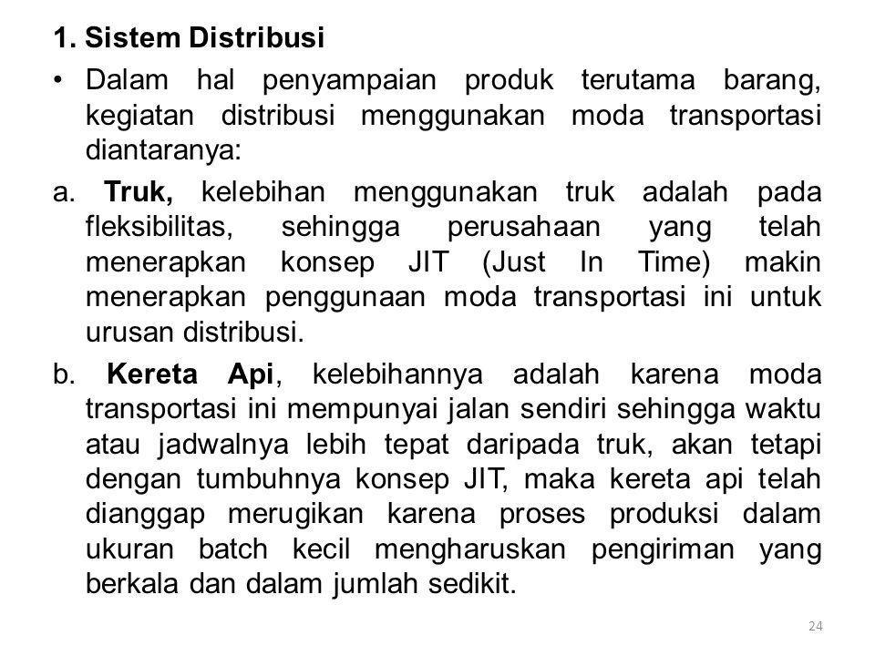 1. Sistem Distribusi Dalam hal penyampaian produk terutama barang, kegiatan distribusi menggunakan moda transportasi diantaranya: