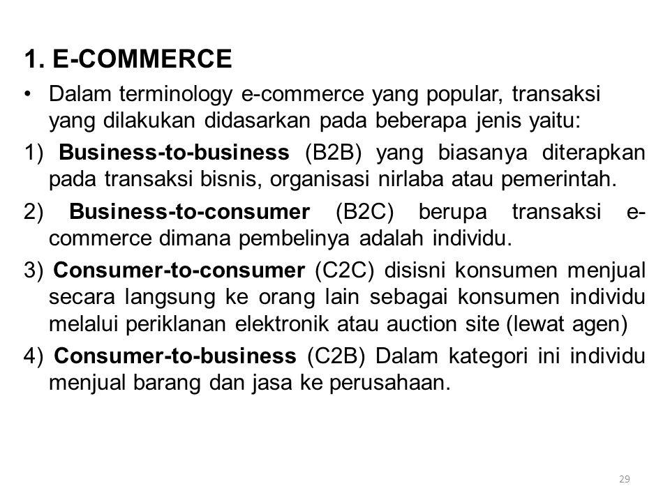 1. E-COMMERCE Dalam terminology e-commerce yang popular, transaksi yang dilakukan didasarkan pada beberapa jenis yaitu:
