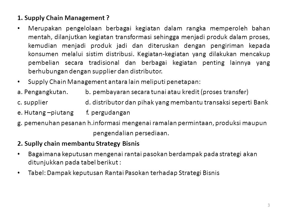 1. Supply Chain Management