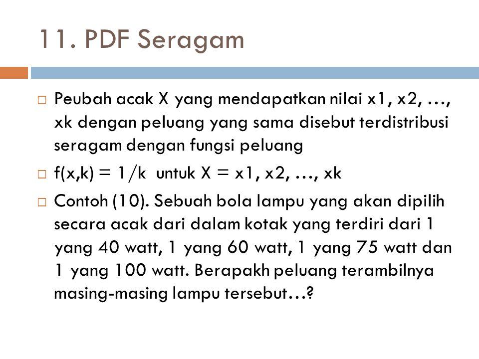 11. PDF Seragam Peubah acak X yang mendapatkan nilai x1, x2, …, xk dengan peluang yang sama disebut terdistribusi seragam dengan fungsi peluang.