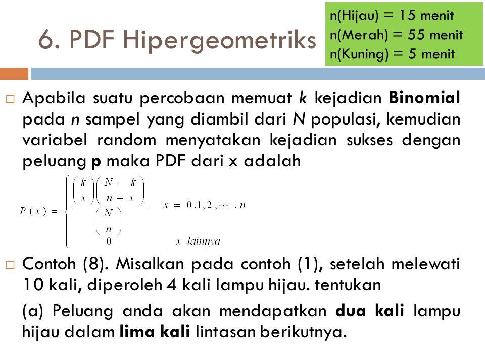 n(Hijau) = 15 menit n(Merah) = 55 menit. n(Kuning) = 5 menit. 6. PDF Hipergeometriks.