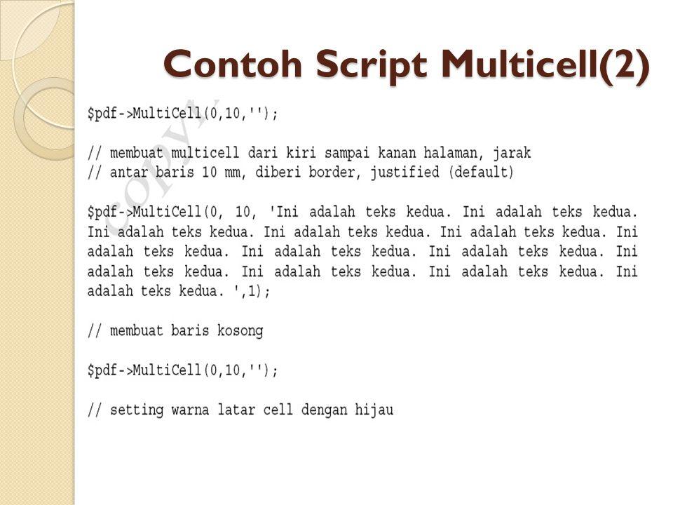 Contoh Script Multicell(2)