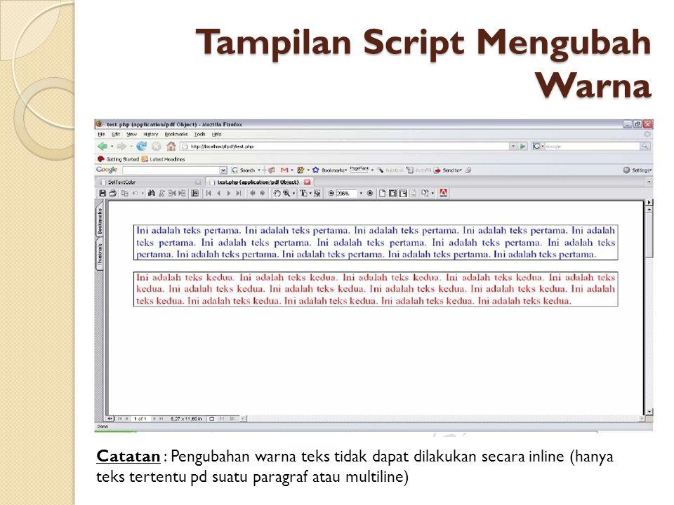 Tampilan Script Mengubah Warna
