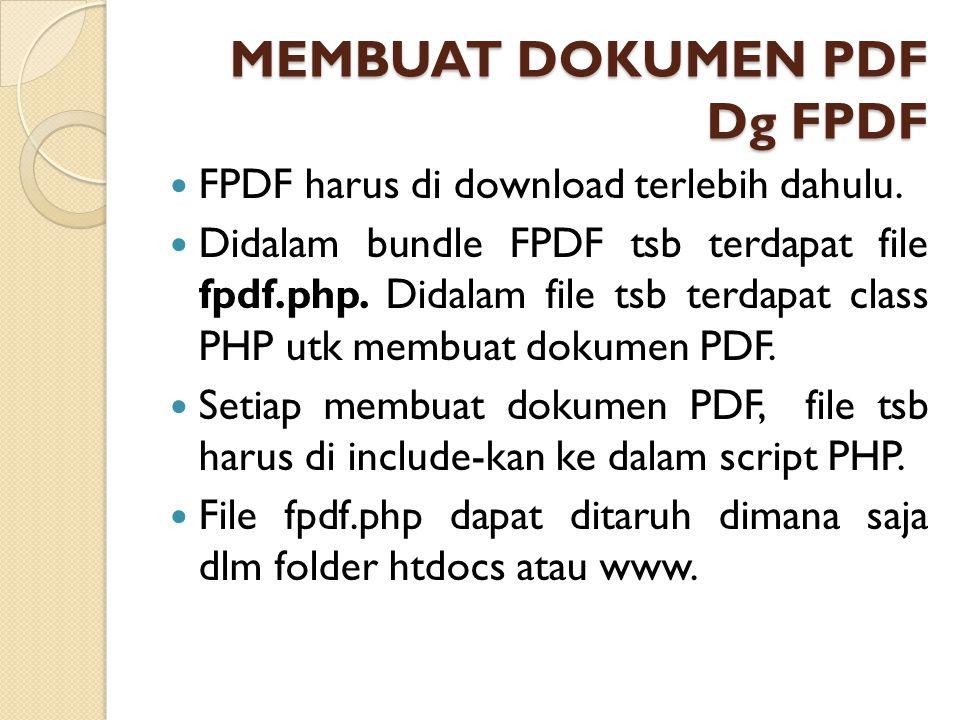 MEMBUAT DOKUMEN PDF Dg FPDF