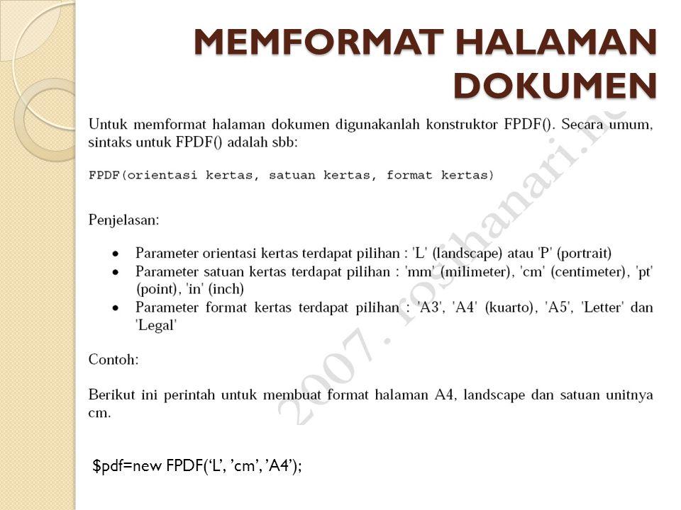 MEMFORMAT HALAMAN DOKUMEN