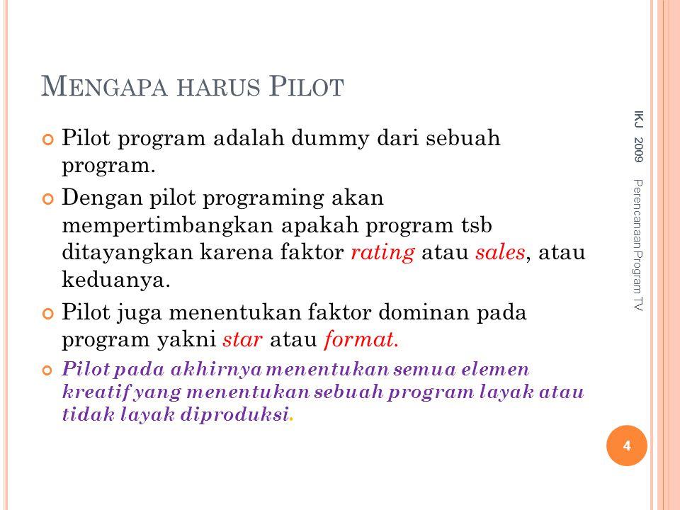 Mengapa harus Pilot Pilot program adalah dummy dari sebuah program.