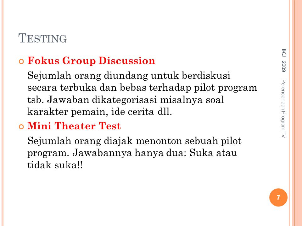 Testing Fokus Group Discussion