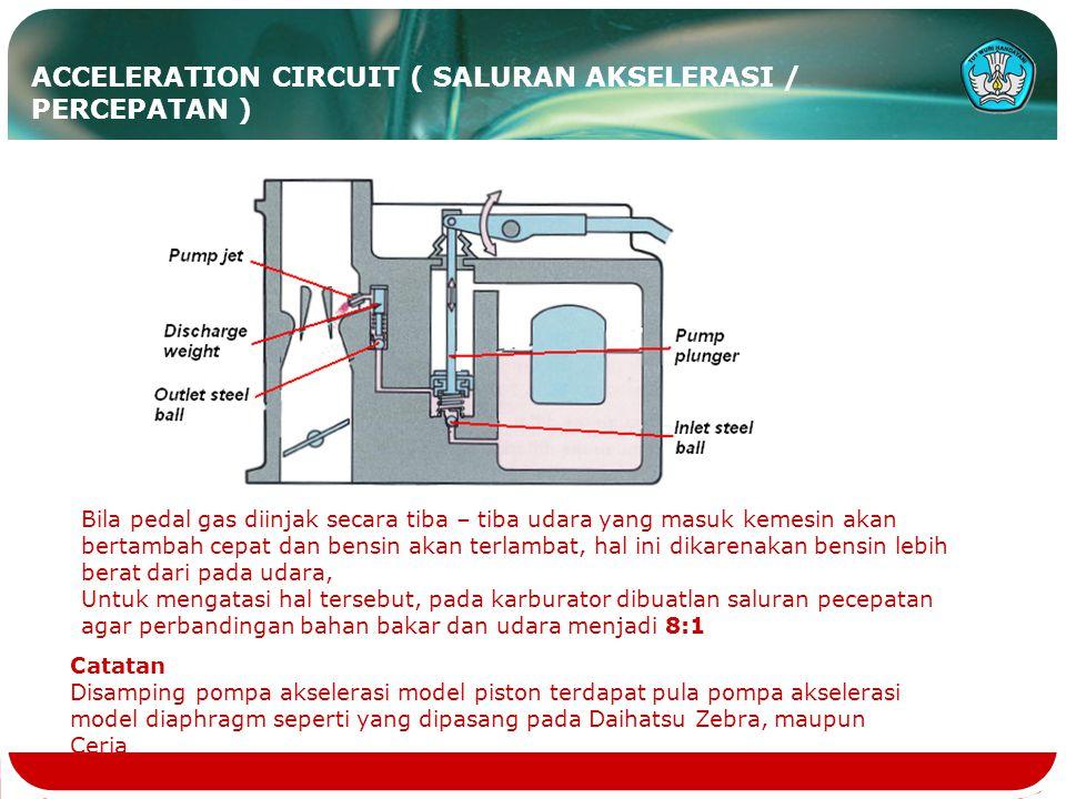 ACCELERATION CIRCUIT ( SALURAN AKSELERASI / PERCEPATAN )