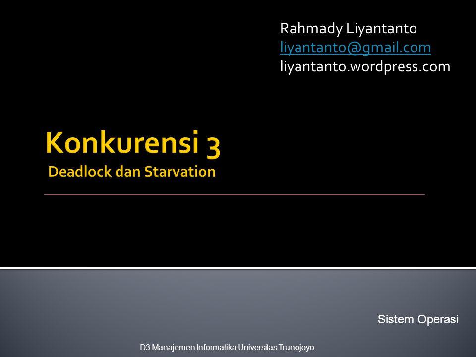 Konkurensi 3 Deadlock dan Starvation