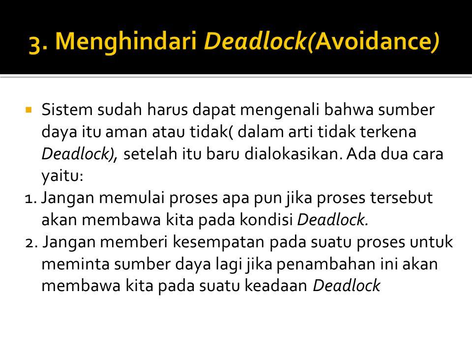 3. Menghindari Deadlock(Avoidance)
