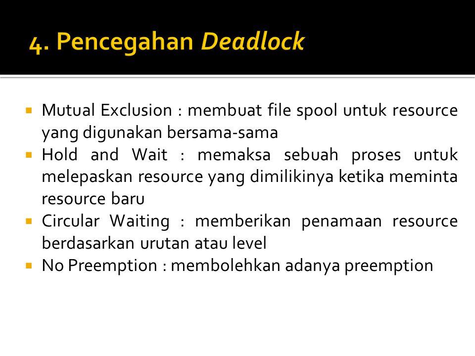 4. Pencegahan Deadlock Mutual Exclusion : membuat file spool untuk resource yang digunakan bersama-sama.