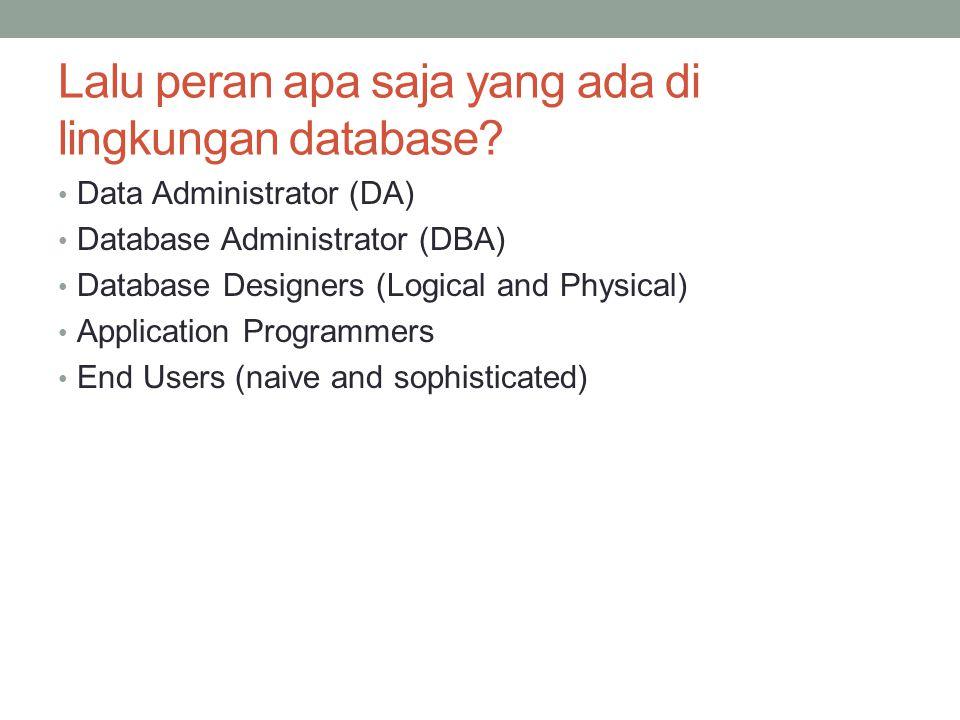 Lalu peran apa saja yang ada di lingkungan database