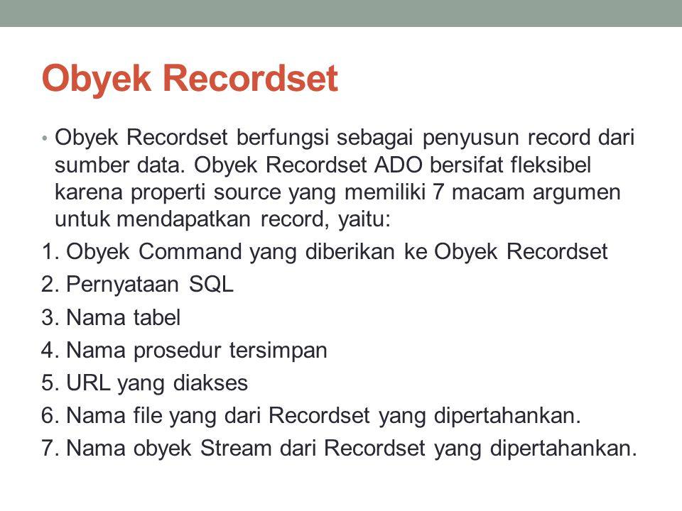 Obyek Recordset