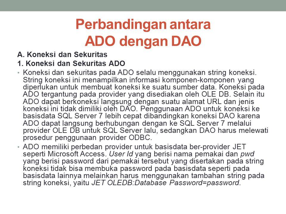 Perbandingan antara ADO dengan DAO