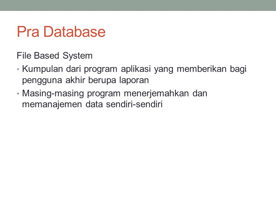 Pra Database File Based System