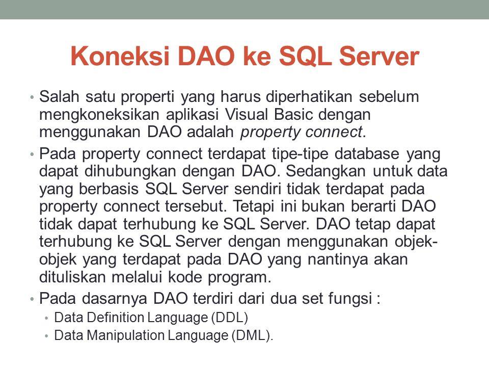 Koneksi DAO ke SQL Server