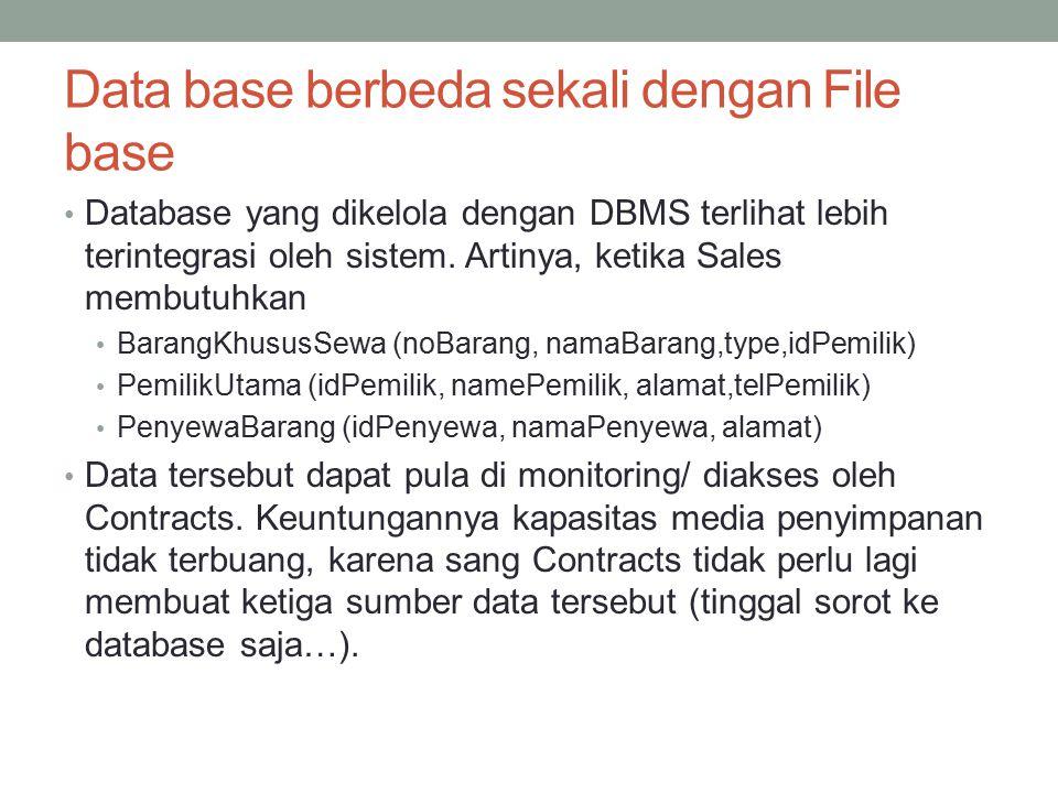 Data base berbeda sekali dengan File base