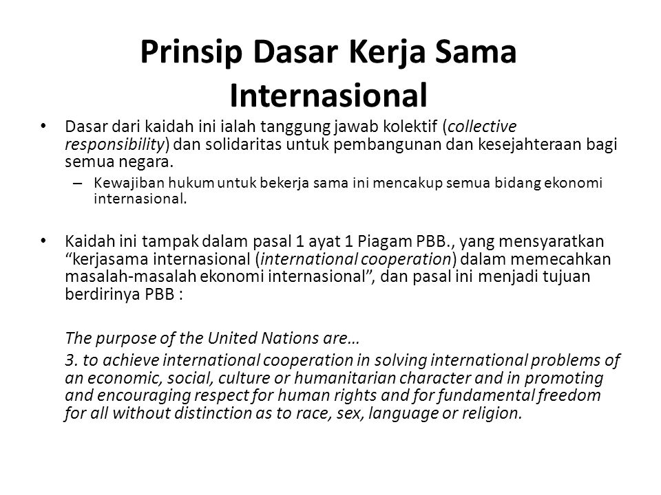 Prinsip Dasar Kerja Sama Internasional