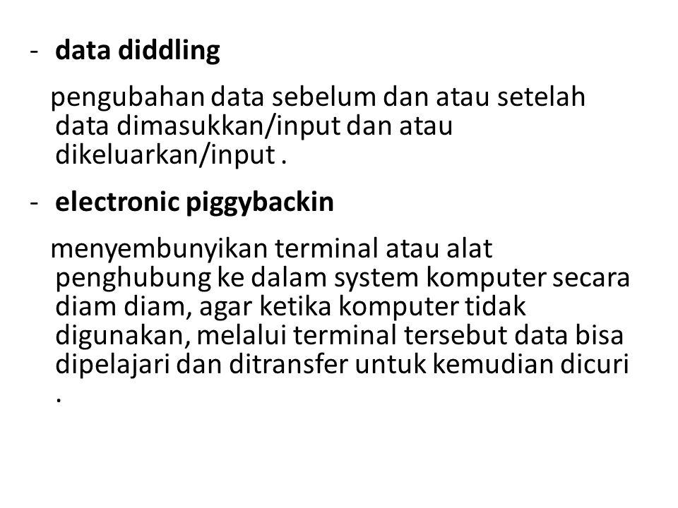 data diddling pengubahan data sebelum dan atau setelah data dimasukkan/input dan atau dikeluarkan/input .