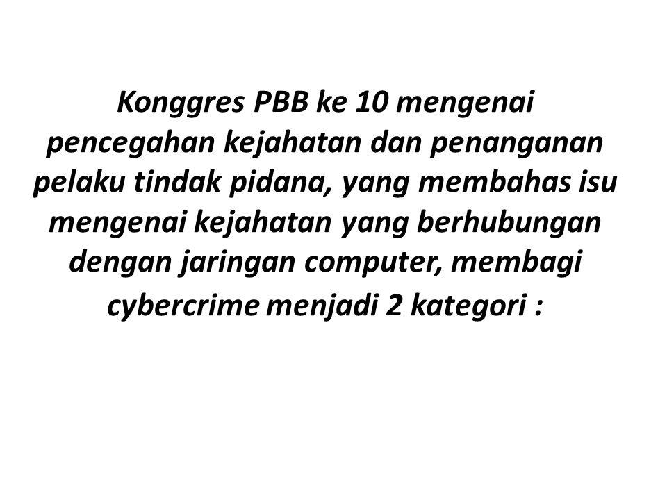 Konggres PBB ke 10 mengenai pencegahan kejahatan dan penanganan pelaku tindak pidana, yang membahas isu mengenai kejahatan yang berhubungan dengan jaringan computer, membagi cybercrime menjadi 2 kategori :