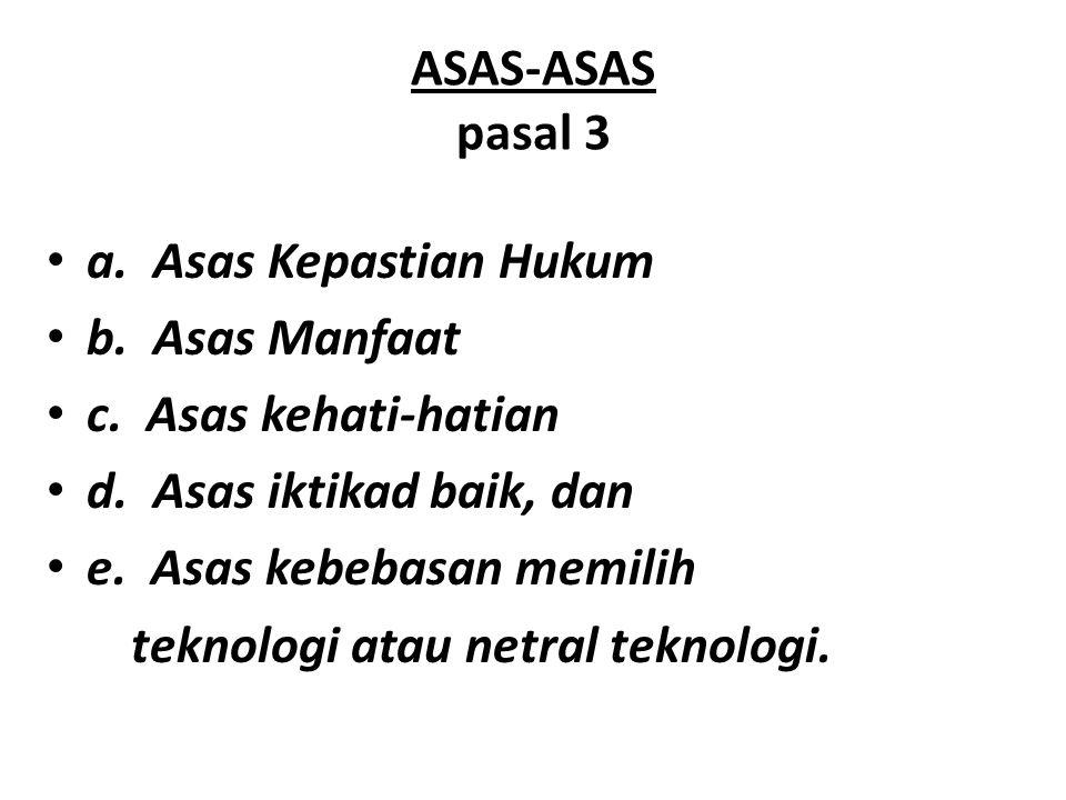 ASAS-ASAS pasal 3 a. Asas Kepastian Hukum. b. Asas Manfaat. c. Asas kehati-hatian. d. Asas iktikad baik, dan.