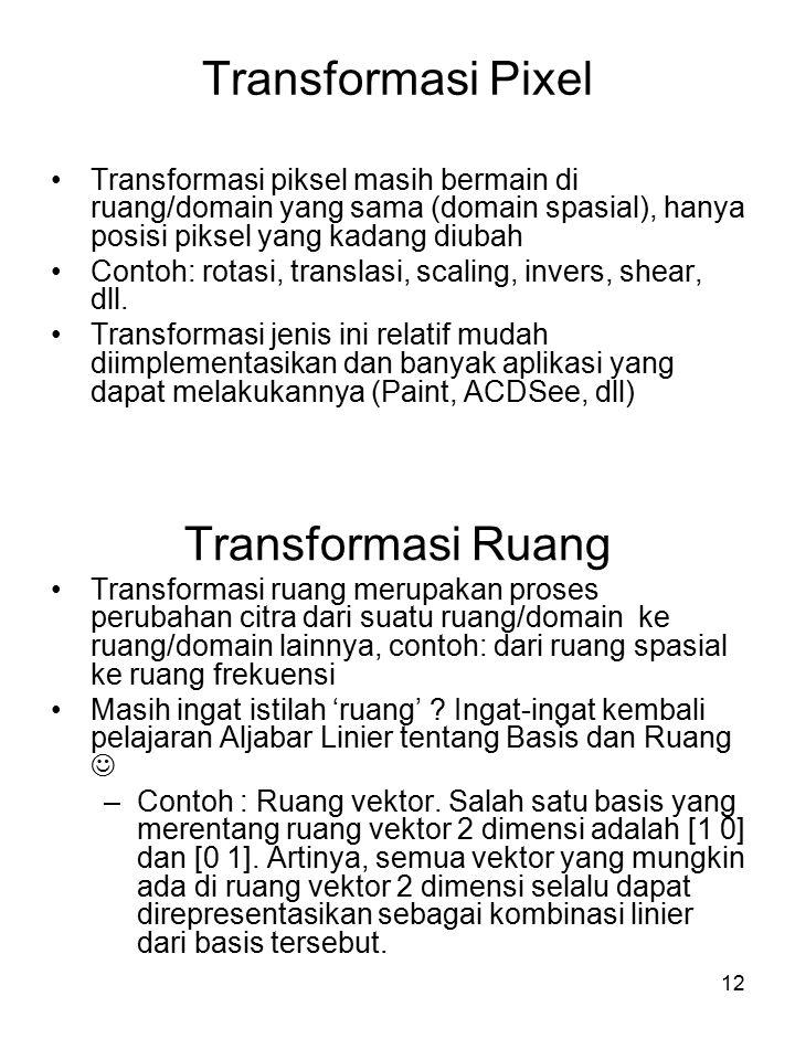 Transformasi Pixel Transformasi Ruang