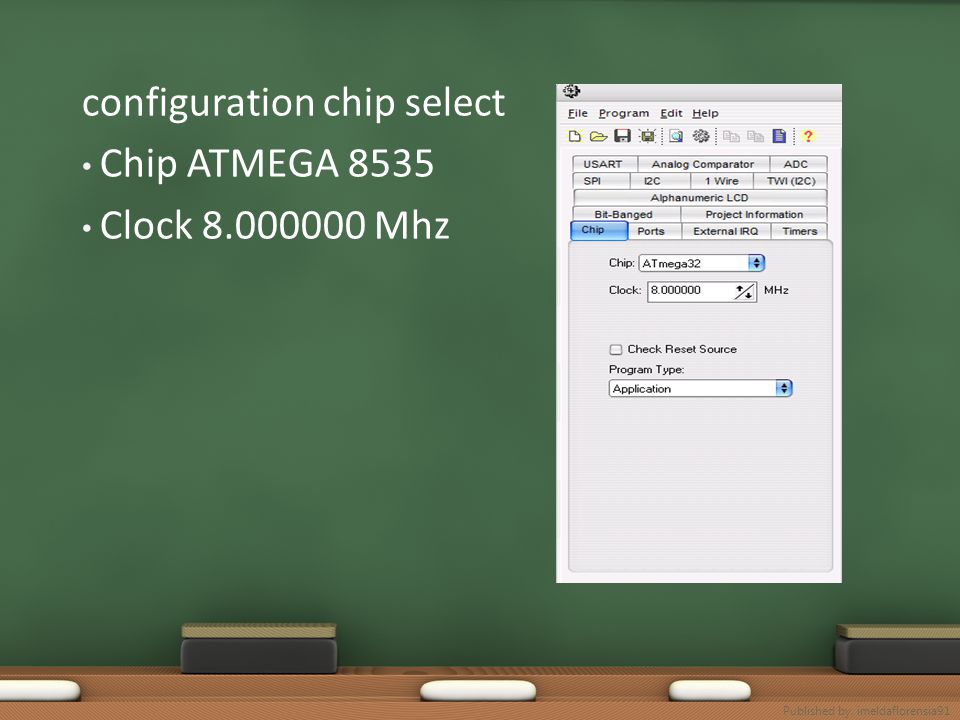 configuration chip select Chip ATMEGA 8535 Clock 8.000000 Mhz