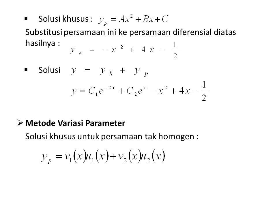 Solusi khusus : Substitusi persamaan ini ke persamaan diferensial diatas hasilnya : Solusi. Metode Variasi Parameter.