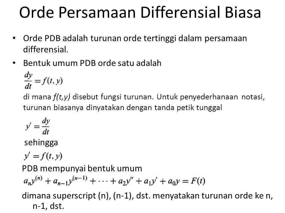 Orde Persamaan Differensial Biasa