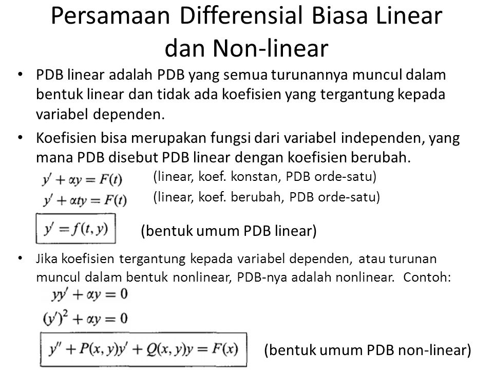 Persamaan Differensial Biasa Linear dan Non-linear