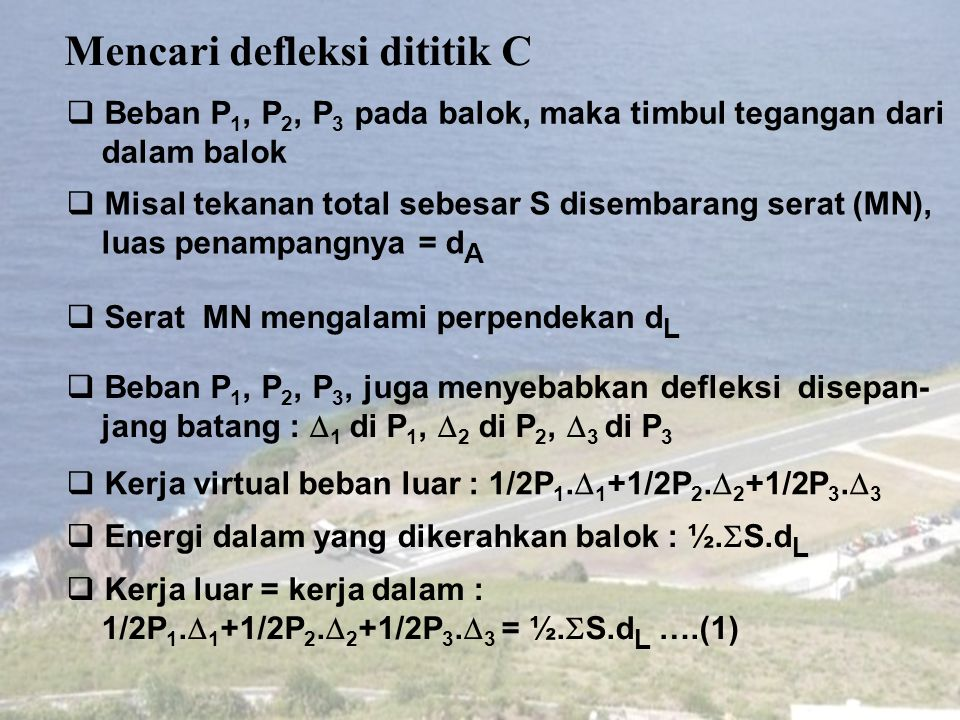 Mencari defleksi dititik C