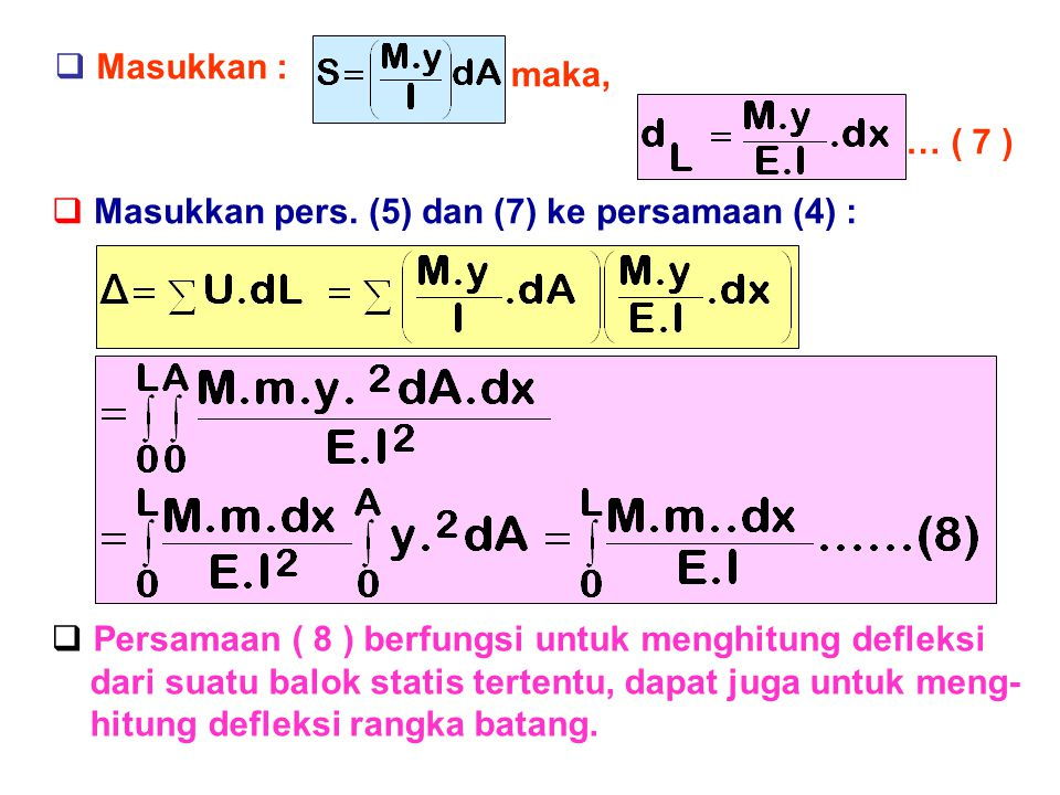 Masukkan : maka, … ( 7 ) Masukkan pers. (5) dan (7) ke persamaan (4) : Persamaan ( 8 ) berfungsi untuk menghitung defleksi.
