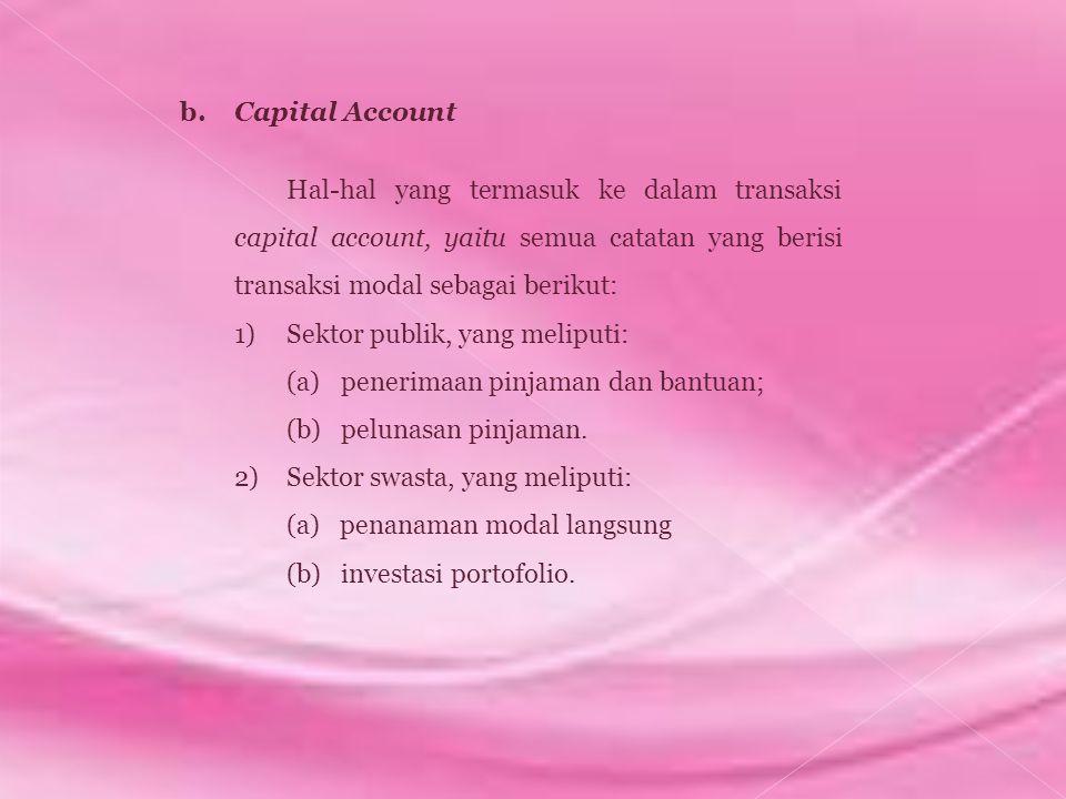 b. Capital Account Hal-hal yang termasuk ke dalam transaksi capital account, yaitu semua catatan yang berisi transaksi modal sebagai berikut: