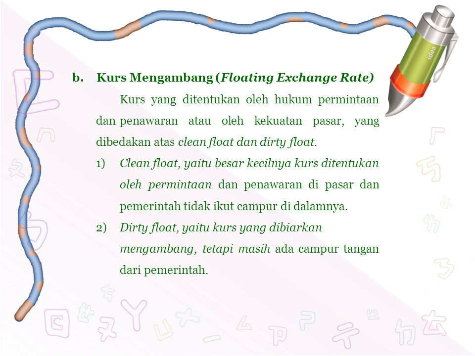 b. Kurs Mengambang (Floating Exchange Rate)
