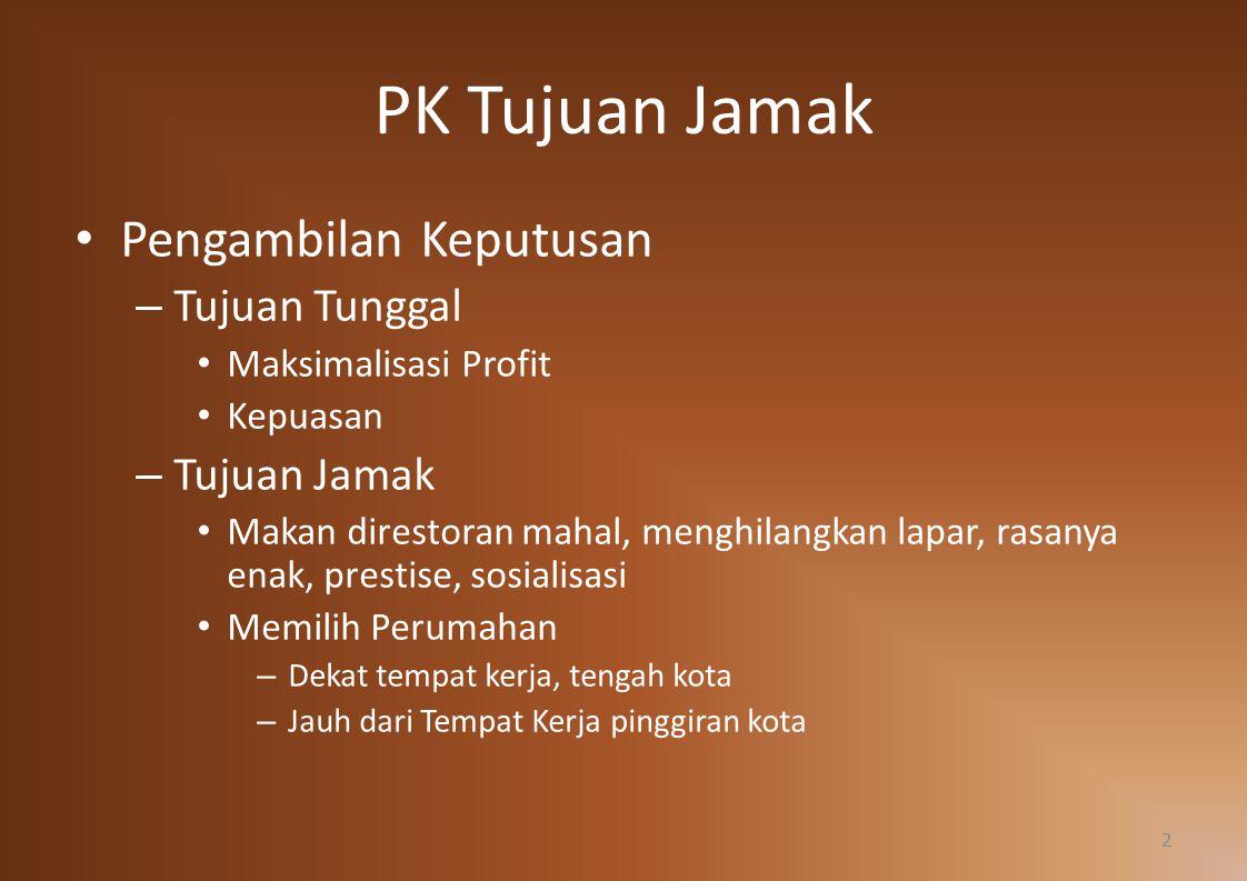 PK Tujuan Jamak Pengambilan Keputusan Tujuan Tunggal Tujuan Jamak
