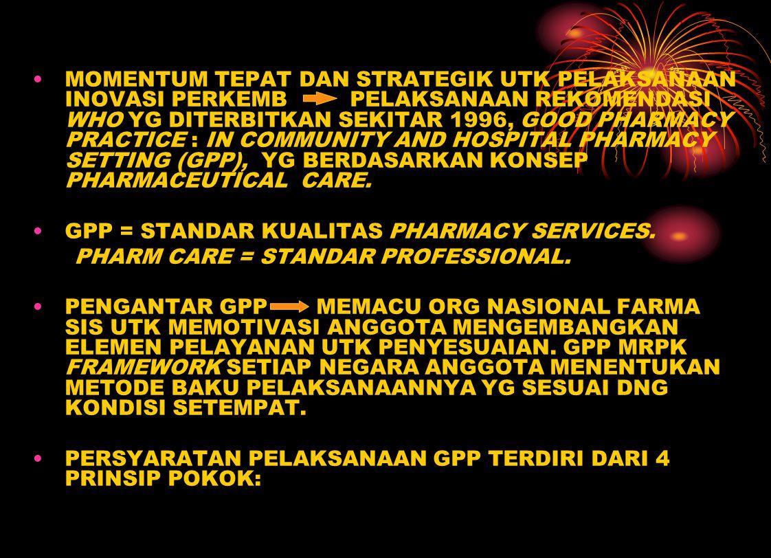 MOMENTUM TEPAT DAN STRATEGIK UTK PELAKSANAAN INOVASI PERKEMB PELAKSANAAN REKOMENDASI WHO YG DITERBITKAN SEKITAR 1996, GOOD PHARMACY PRACTICE : IN COMMUNITY AND HOSPITAL PHARMACY SETTING (GPP), YG BERDASARKAN KONSEP PHARMACEUTICAL CARE.