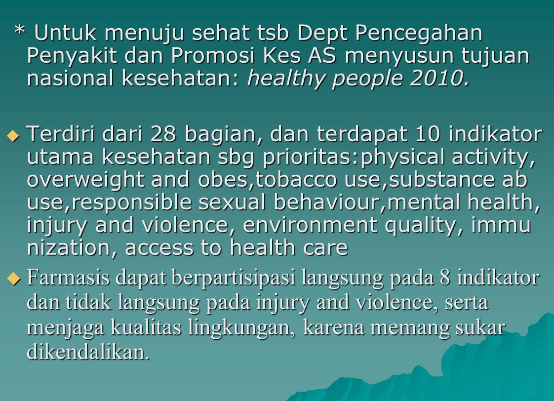 * Untuk menuju sehat tsb Dept Pencegahan Penyakit dan Promosi Kes AS menyusun tujuan nasional kesehatan: healthy people 2010.