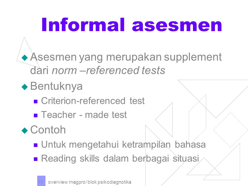 Informal asesmen Asesmen yang merupakan supplement dari norm –referenced tests. Bentuknya. Criterion-referenced test.