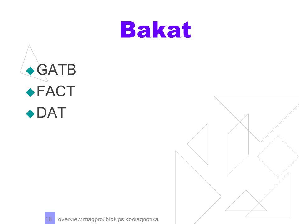 Bakat GATB FACT DAT overview magpro/ blok psikodiagnotika