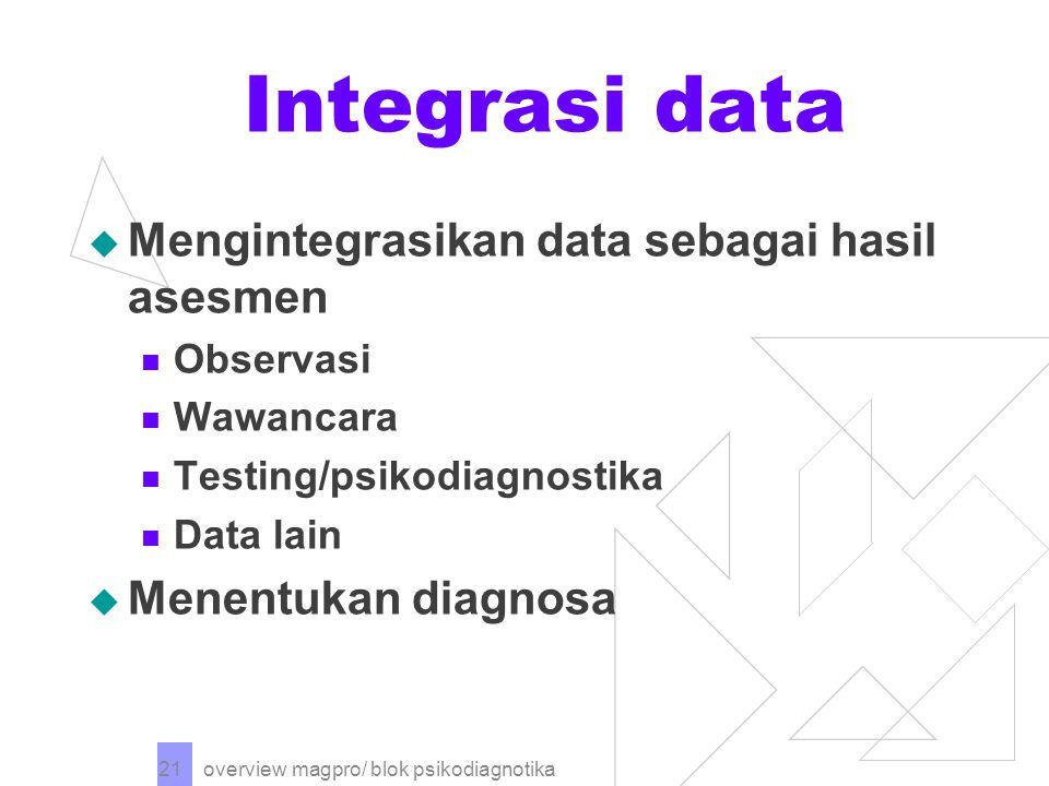 Integrasi data Mengintegrasikan data sebagai hasil asesmen