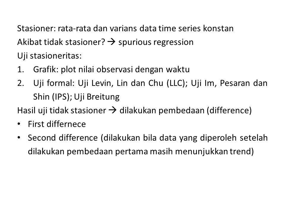 Stasioner: rata-rata dan varians data time series konstan