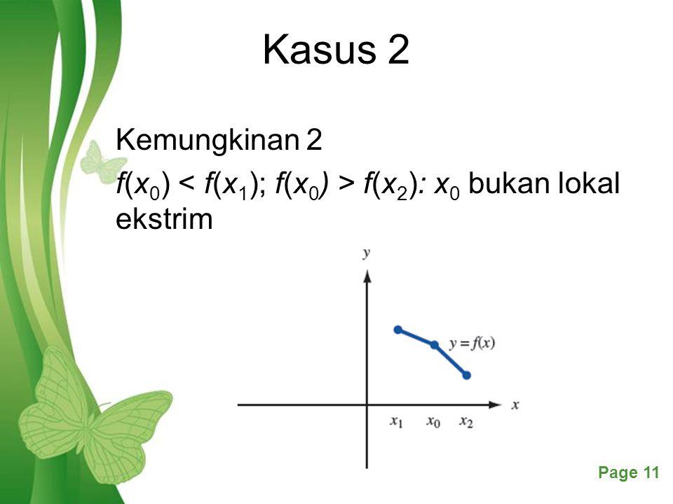 Kasus 2 Kemungkinan 2 f(x0) < f(x1); f(x0) > f(x2): x0 bukan lokal ekstrim