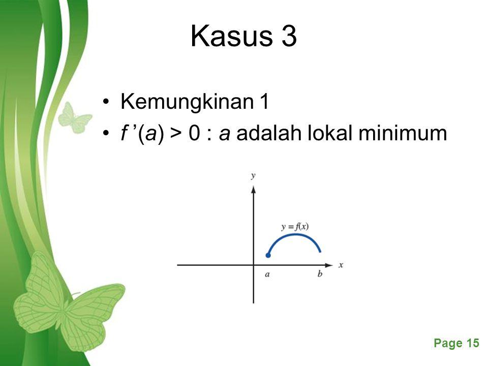 Kasus 3 Kemungkinan 1 f '(a) > 0 : a adalah lokal minimum