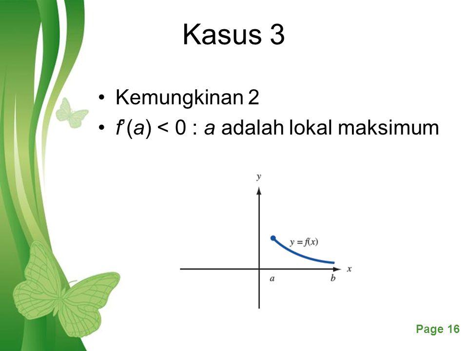 Kasus 3 Kemungkinan 2 f'(a) < 0 : a adalah lokal maksimum
