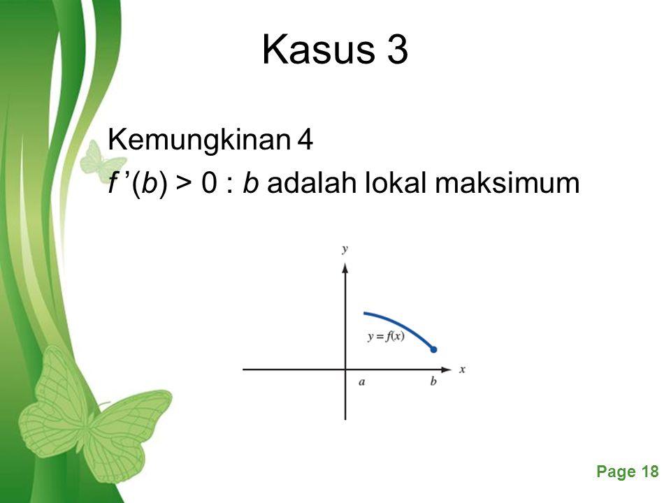 Kasus 3 Kemungkinan 4 f '(b) > 0 : b adalah lokal maksimum