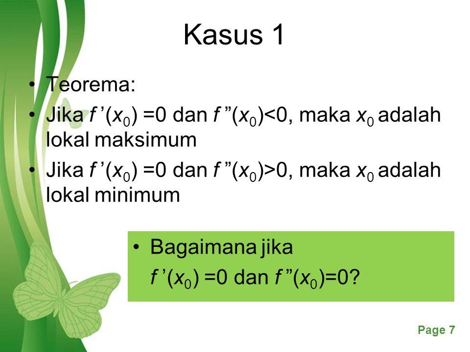 Kasus 1 Teorema: Jika f '(x0) =0 dan f (x0)<0, maka x0 adalah lokal maksimum. Jika f '(x0) =0 dan f (x0)>0, maka x0 adalah lokal minimum.