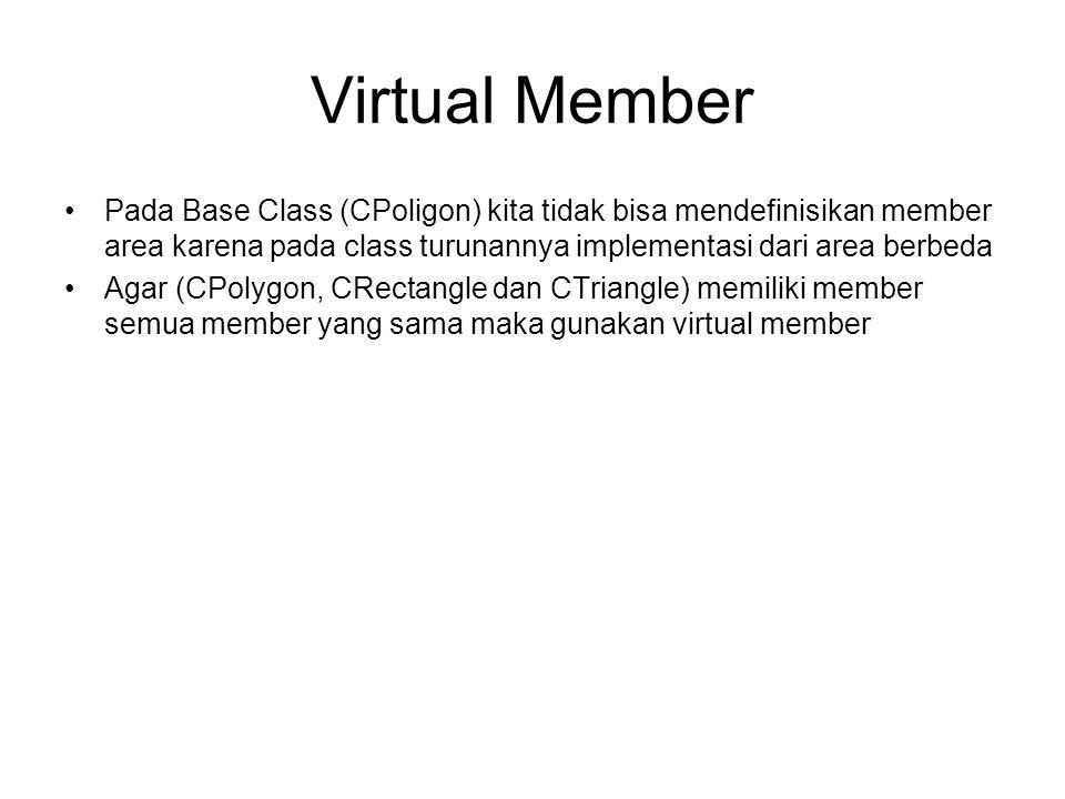 Virtual Member Pada Base Class (CPoligon) kita tidak bisa mendefinisikan member area karena pada class turunannya implementasi dari area berbeda.
