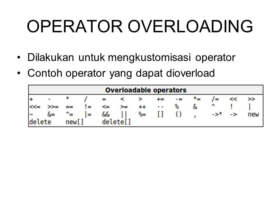 OPERATOR OVERLOADING Dilakukan untuk mengkustomisasi operator